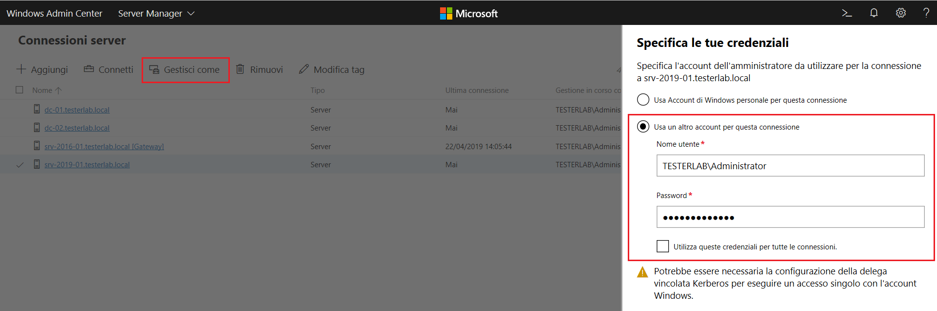 Windows Admin Center - Autenticazione