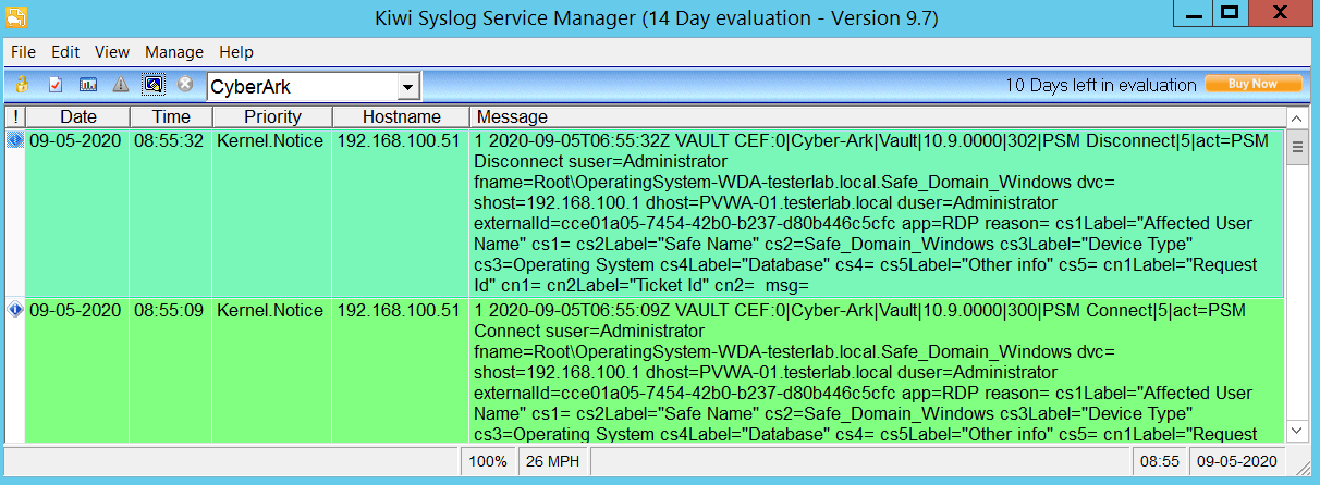 Syslog: PSMConnect - PSMDisconnect